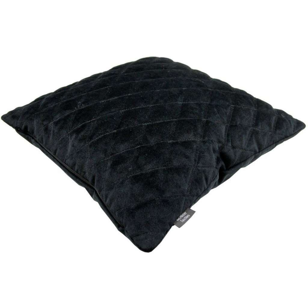 McAlister Textiles Diamond Quilted Black Velvet Pillow Pillow