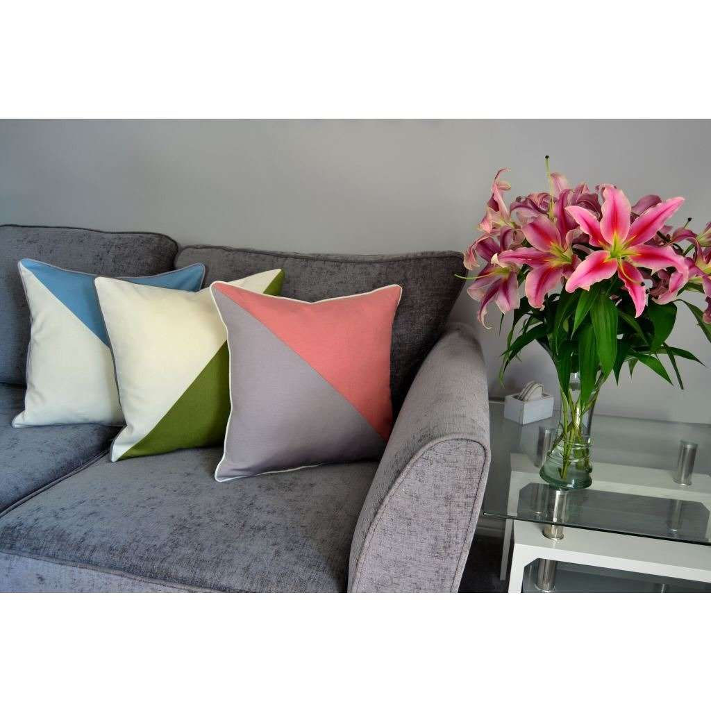 McAlister Textiles Panama Patchwork Blush Pink + Grey Cushion Cushions and Covers