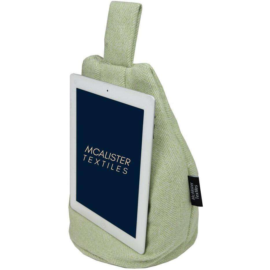 McAlister Textiles Herringbone Sage Green Tablet Stand Mini Bean Bag