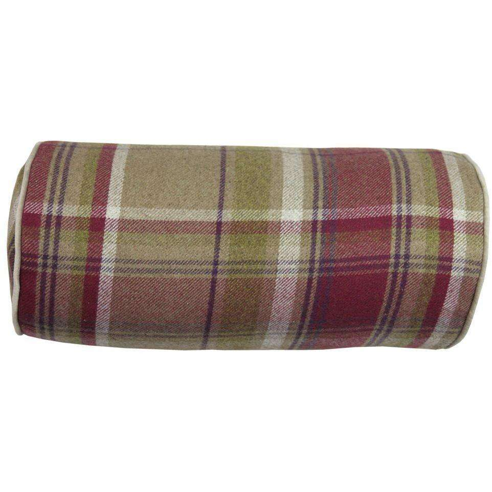 McAlister Textiles Deluxe Tartan Purple + Green Bolster Pillow Bolster Cushion