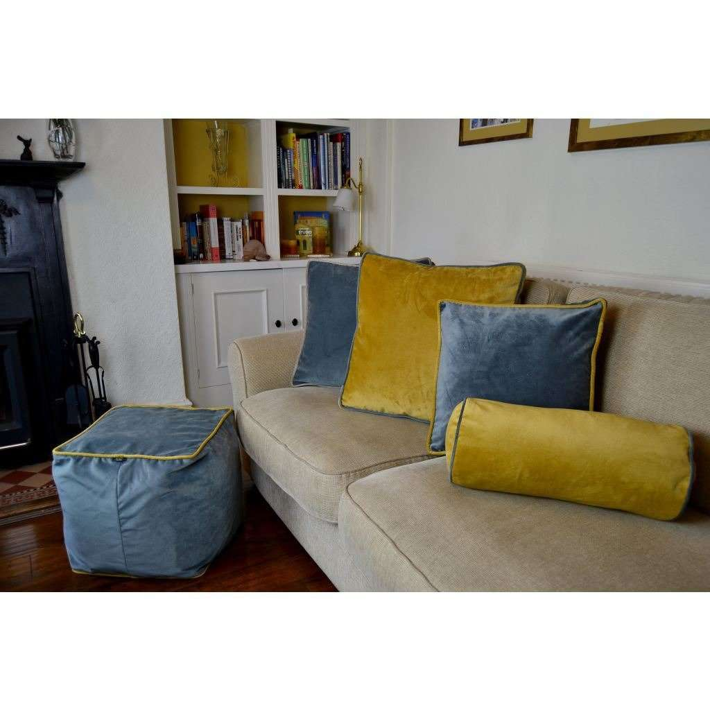 McAlister Textiles Deluxe Velvet Grey + Yellow Box Cushion Box Cushions