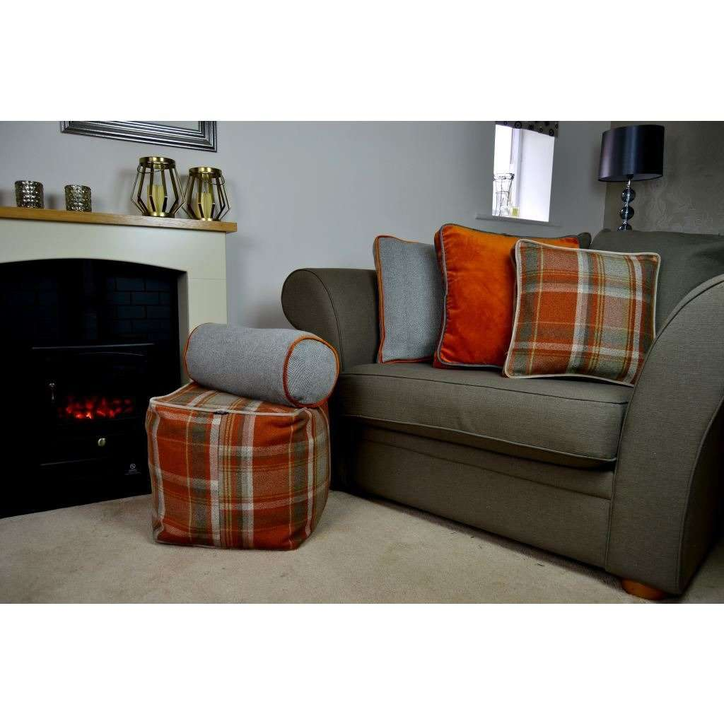 McAlister Textiles Deluxe Tartan Burnt Orange + Grey Box Cushion Box Cushions