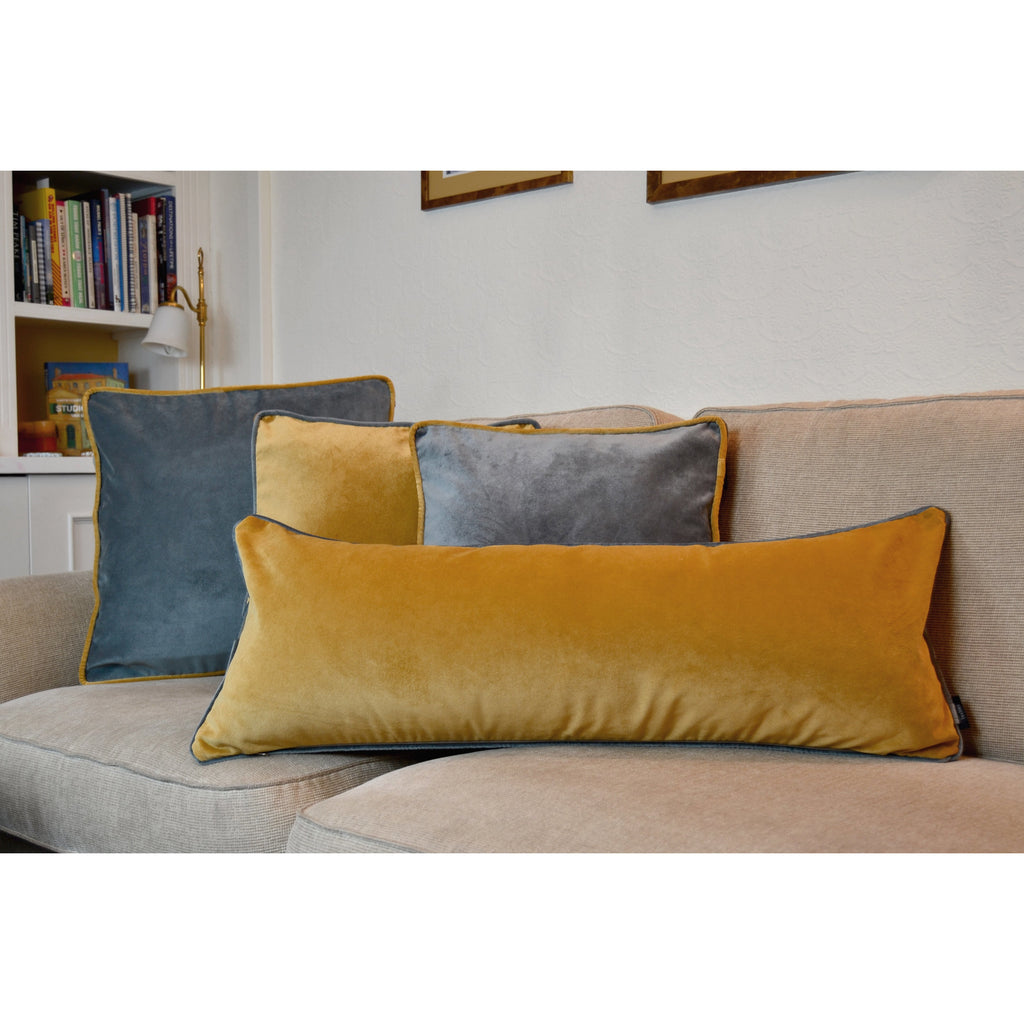 McAlister Textiles Deluxe Velvet Large Yellow + Grey Bed Pillow Large Boudoir Cushions