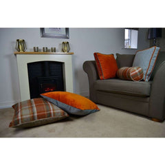 Mcalister Textiles Boutique Deluxe Matt Velvet Large Floor Cushion | Burnt Orange And Grey Cushions