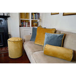Load image into Gallery viewer, McAlister Textiles Deluxe Velvet Yellow + Grey Box Cushion Box Cushions
