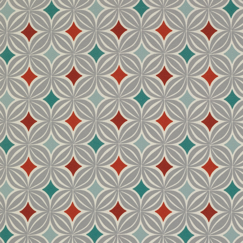 McAlister Textiles Laila Burnt Orange and Teal FR Fabric Fabrics