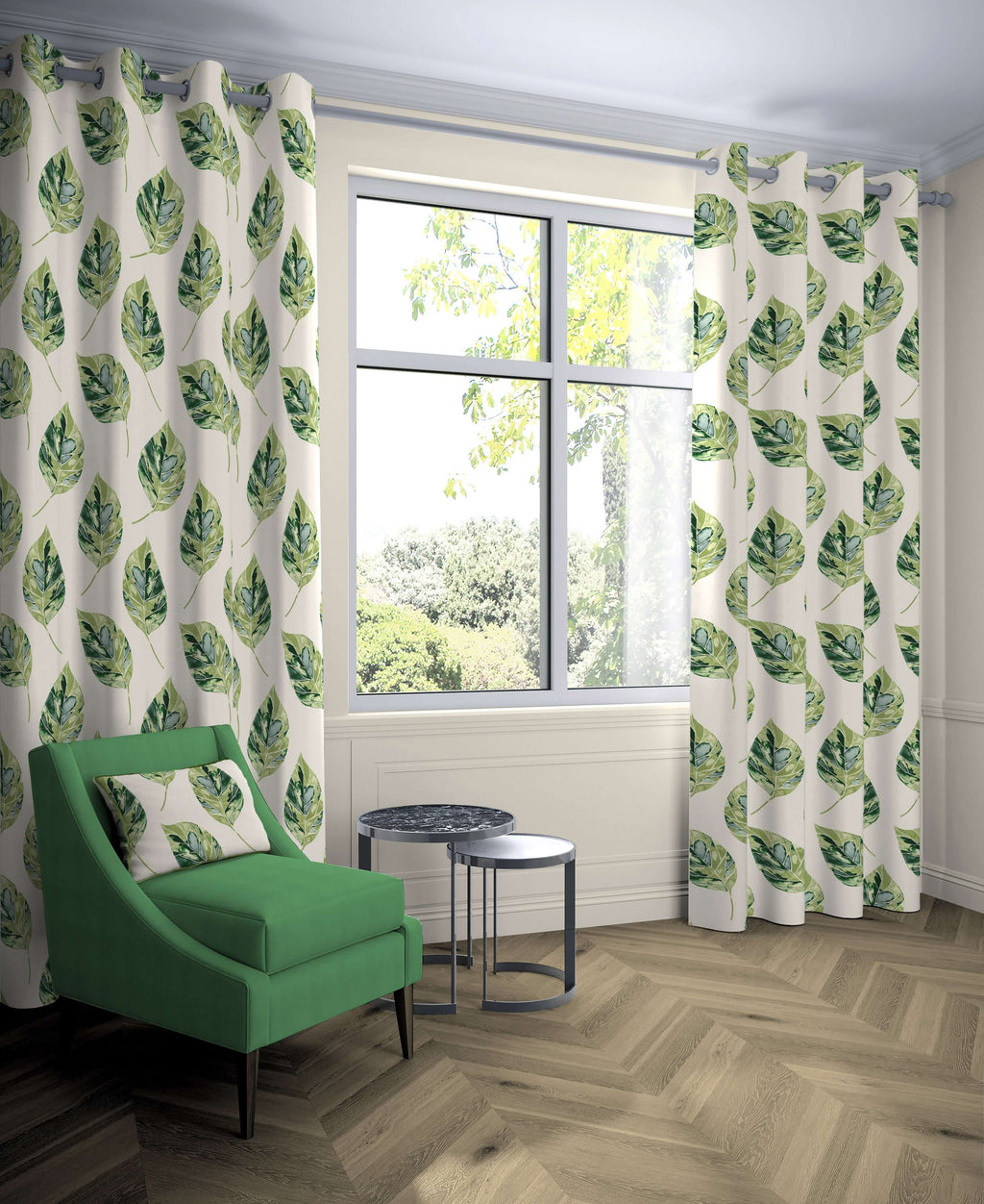 "McAlister Textiles Leaf Forest Green Floral Cotton Print Curtains Tailored Curtains 116cm(w) x 137cm(d) (46"" x 54"")"