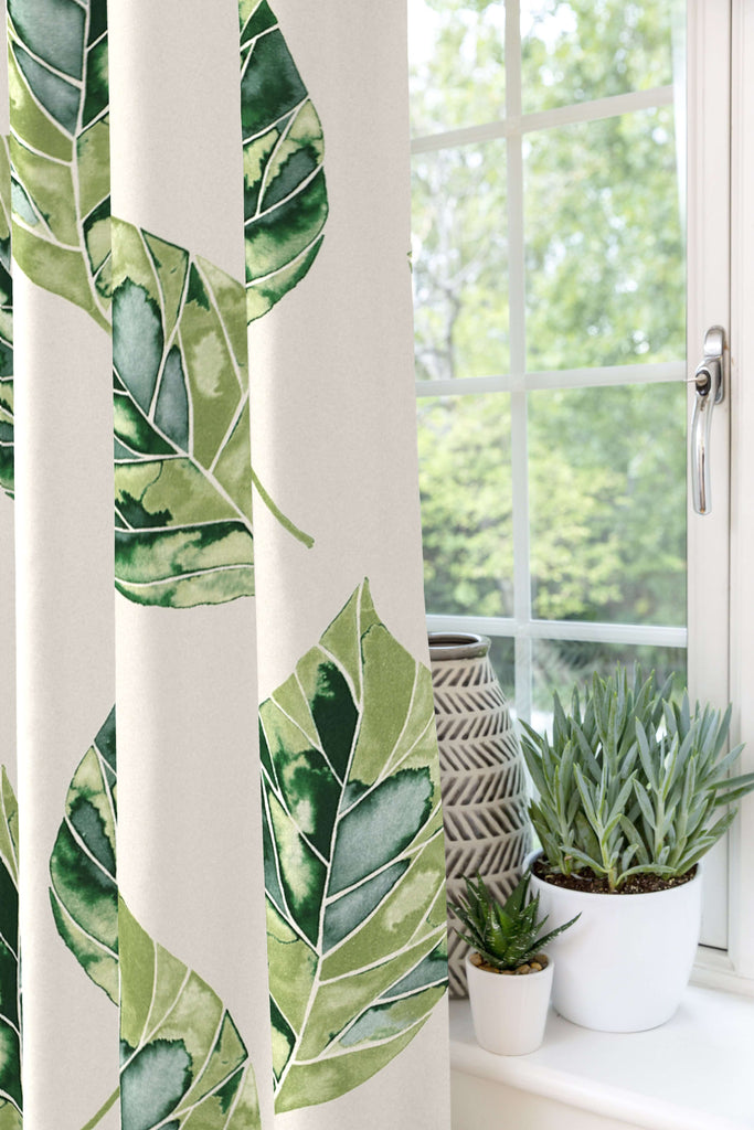 McAlister Textiles Leaf Forest Green Floral Cotton Print Curtains Tailored Curtains