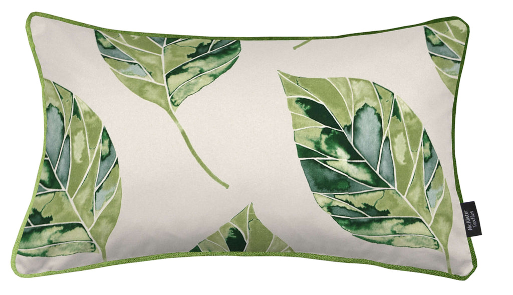 McAlister Textiles Leaf Forest Green Floral Cotton Print Piped Edge Pillows Pillow Cover Only 50cm x 30cm