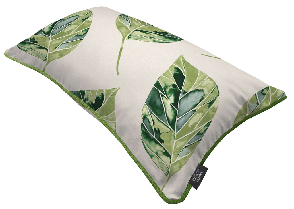 McAlister Textiles Leaf Forest Green Floral Cotton Print Piped Edge Pillows Pillow