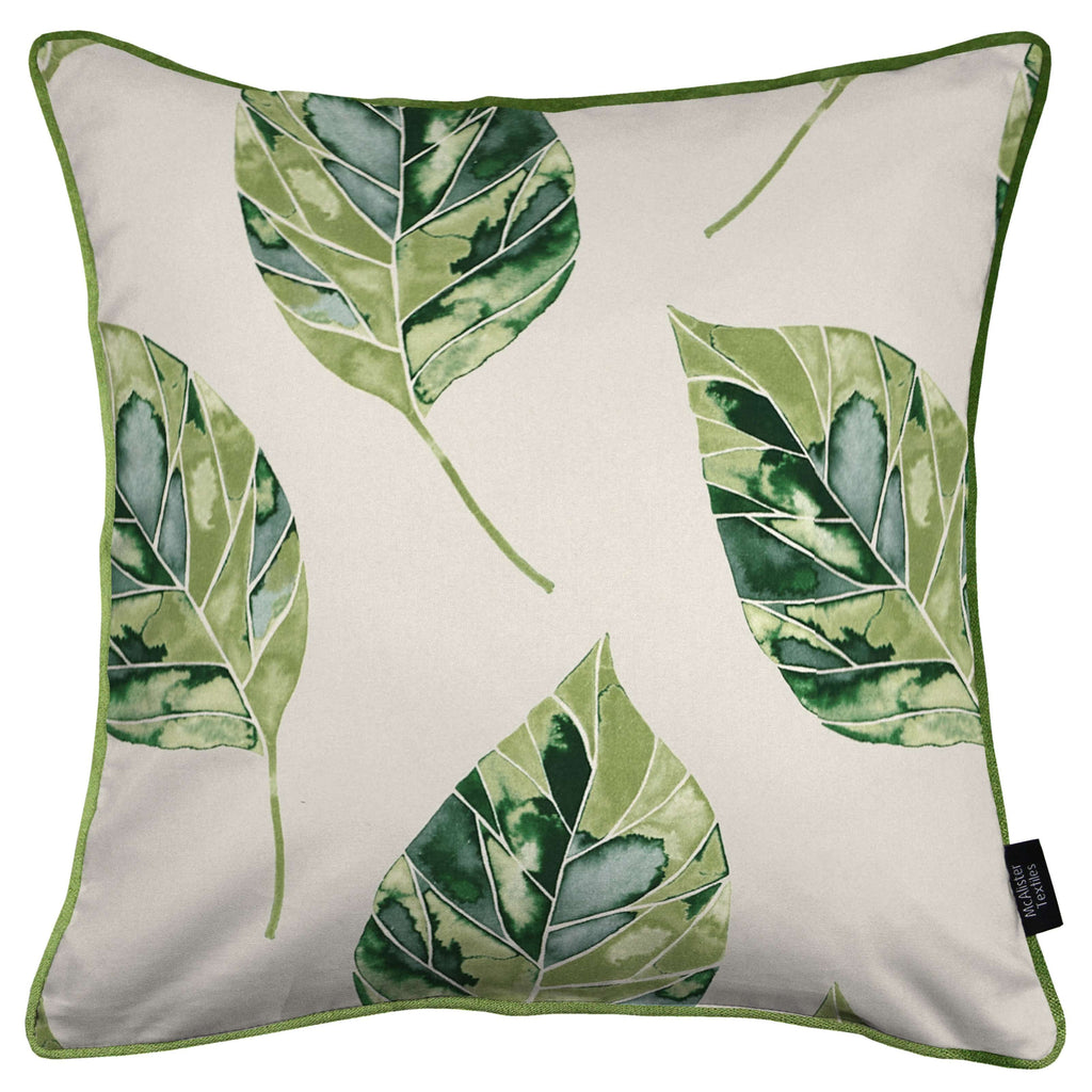 McAlister Textiles Leaf Forest Green Floral Cotton Print Piped Edge Cushions Cushions and Covers Cover Only 43cm x 43cm