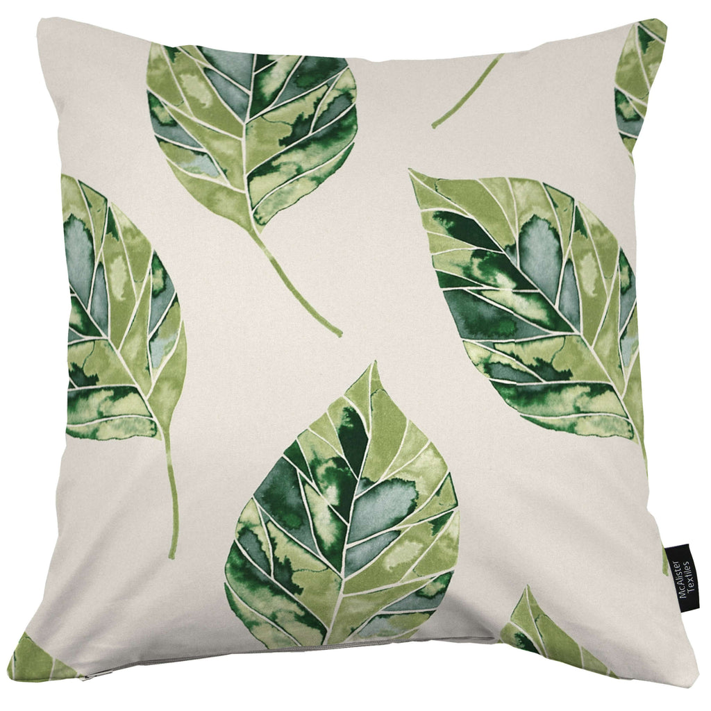 McAlister Textiles Leaf Forest Green Floral Cotton Print Cushions Cushions and Covers Cover Only 43cm x 43cm