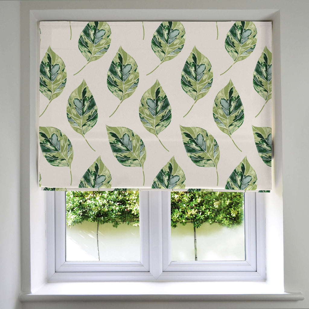 McAlister Textiles Leaf Forest Green Floral Cotton Print Roman Blinds Roman Blinds Standard Lining 130cm x 200cm