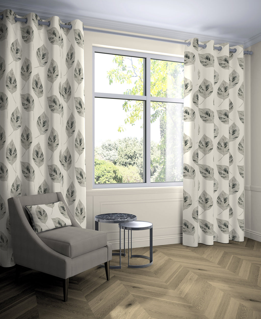McAlister Textiles Leaf Soft Grey Floral Cotton Print Curtains Tailored Curtains