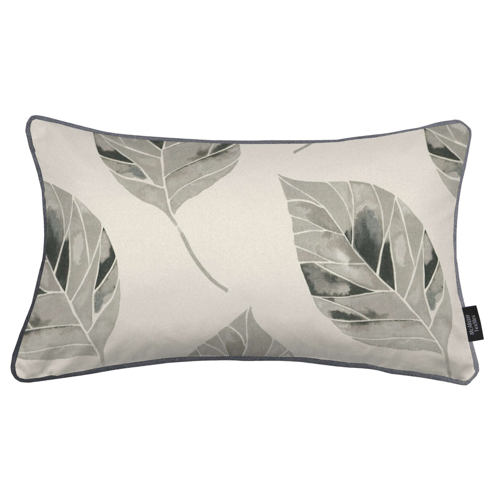 McAlister Textiles Leaf Soft Grey Floral Cotton Print Piped Edge Pillows Pillow Cover Only 50cm x 30cm