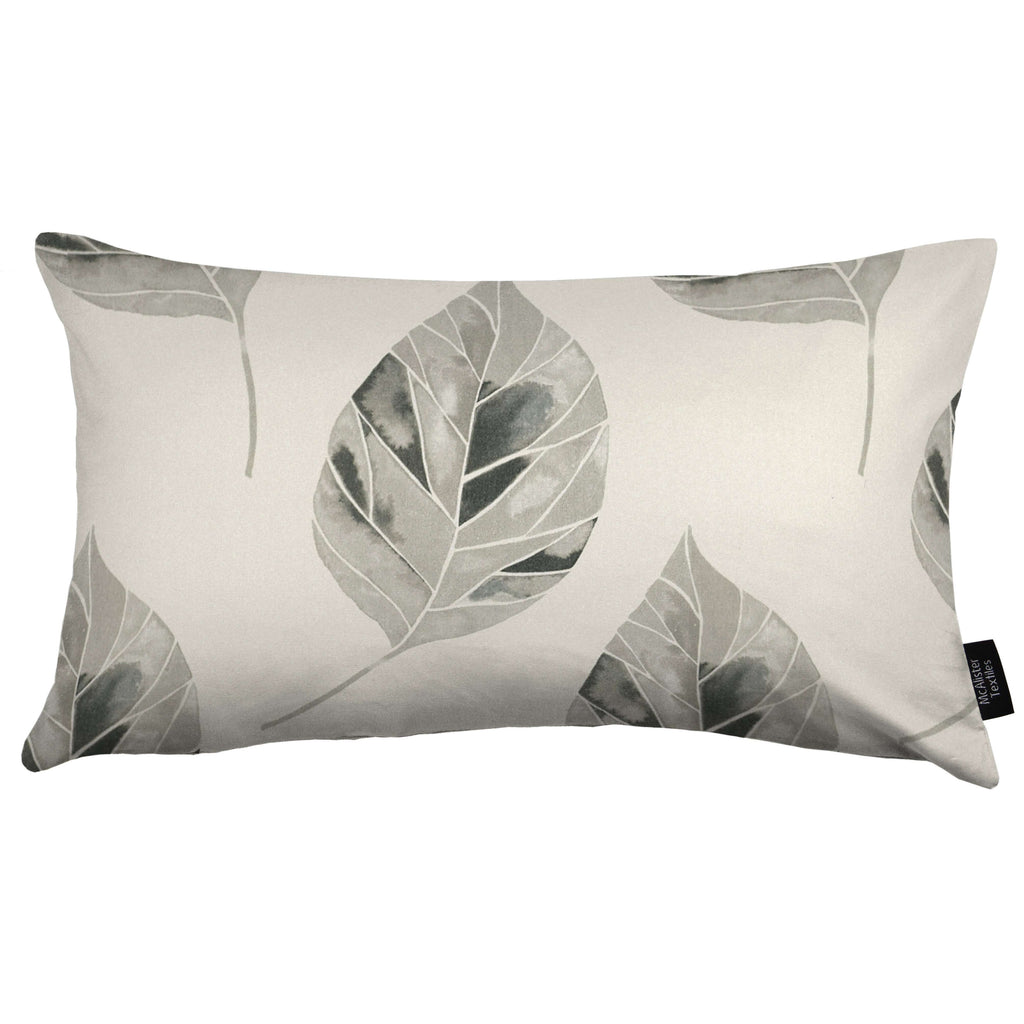 McAlister Textiles Leaf Soft Grey Floral Cotton Print Cushions Cushions and Covers Cover Only 50cm x 30cm