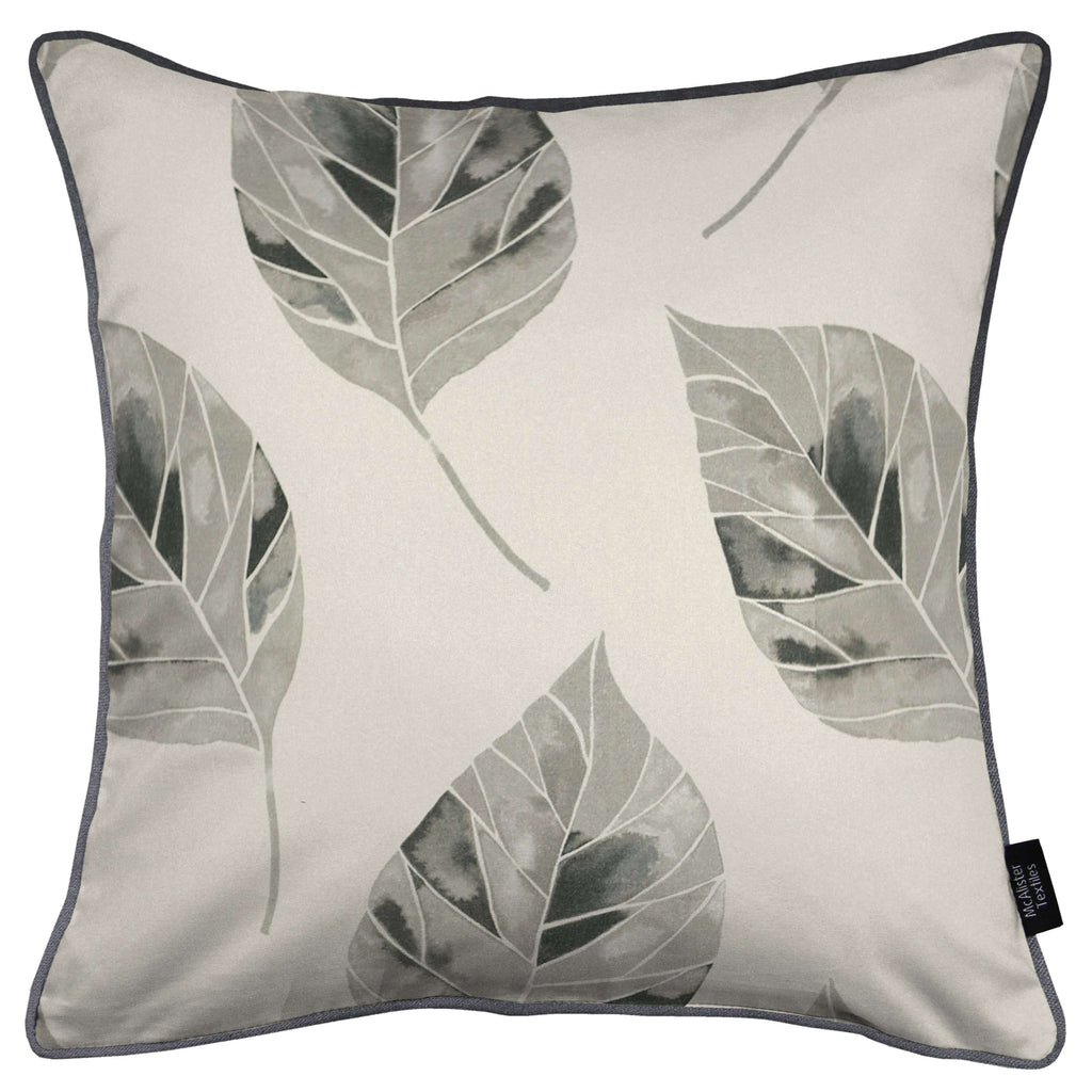 McAlister Textiles Leaf Soft Grey Floral Cotton Print Piped Edge Cushions Cushions and Covers Cover Only 43cm x 43cm