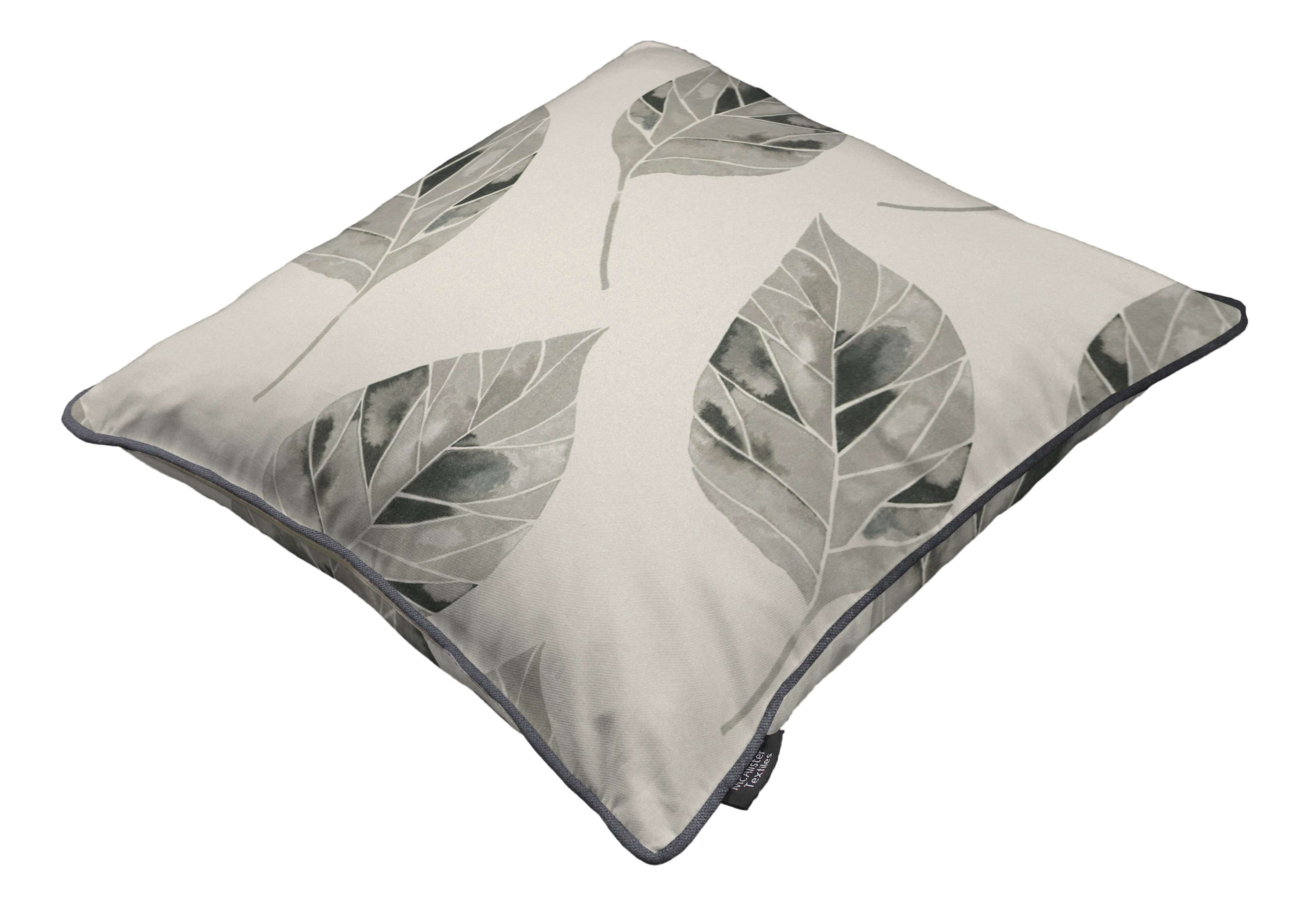 McAlister Textiles Leaf Soft Grey Floral Cotton Print Piped Edge Pillows Pillow