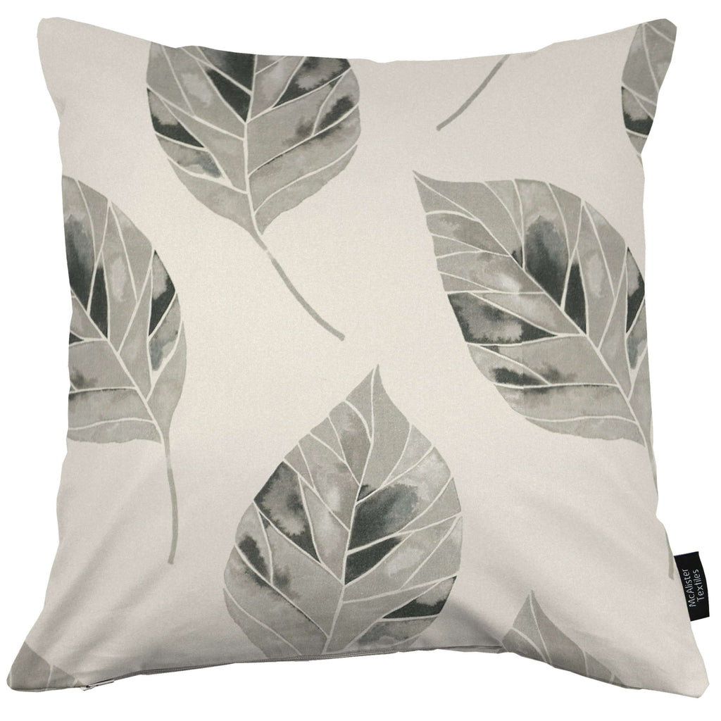 McAlister Textiles Leaf Soft Grey Floral Cotton Print Cushions Cushions and Covers Cover Only 43cm x 43cm