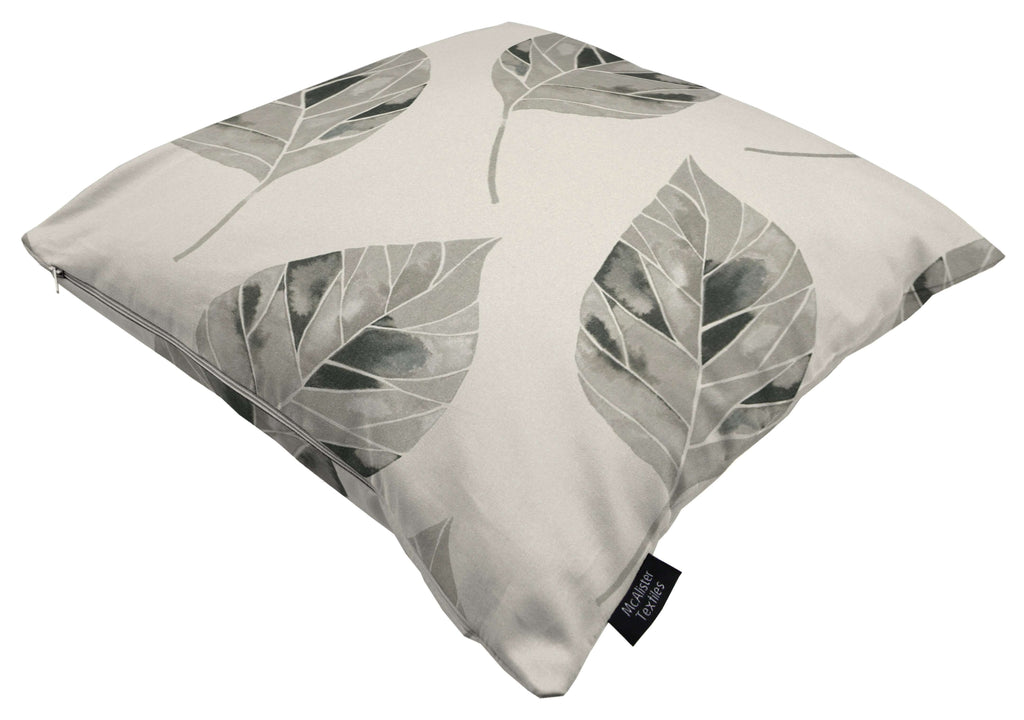 McAlister Textiles Leaf Soft Grey Floral Cotton Print Cushions Cushions and Covers