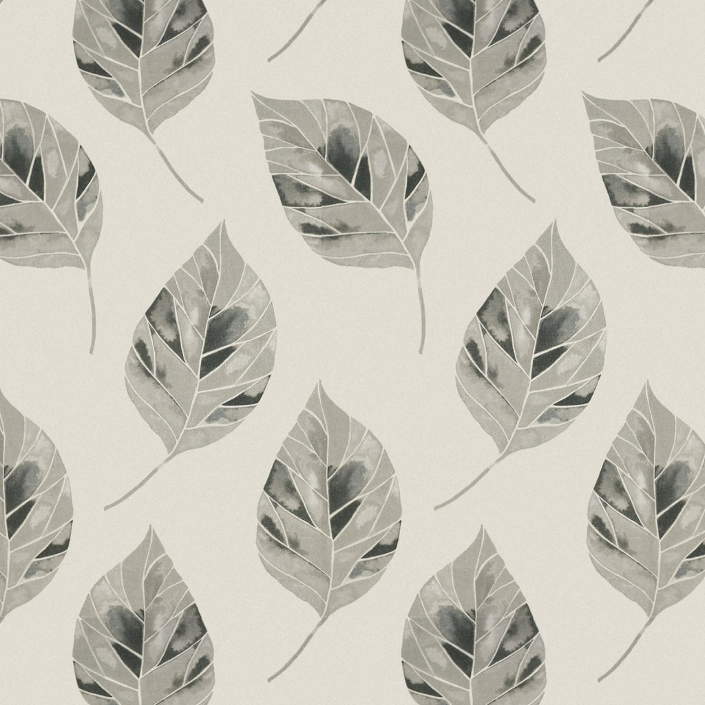 McAlister Textiles Leaf Soft Grey Floral Cotton Print Fabric Fabrics