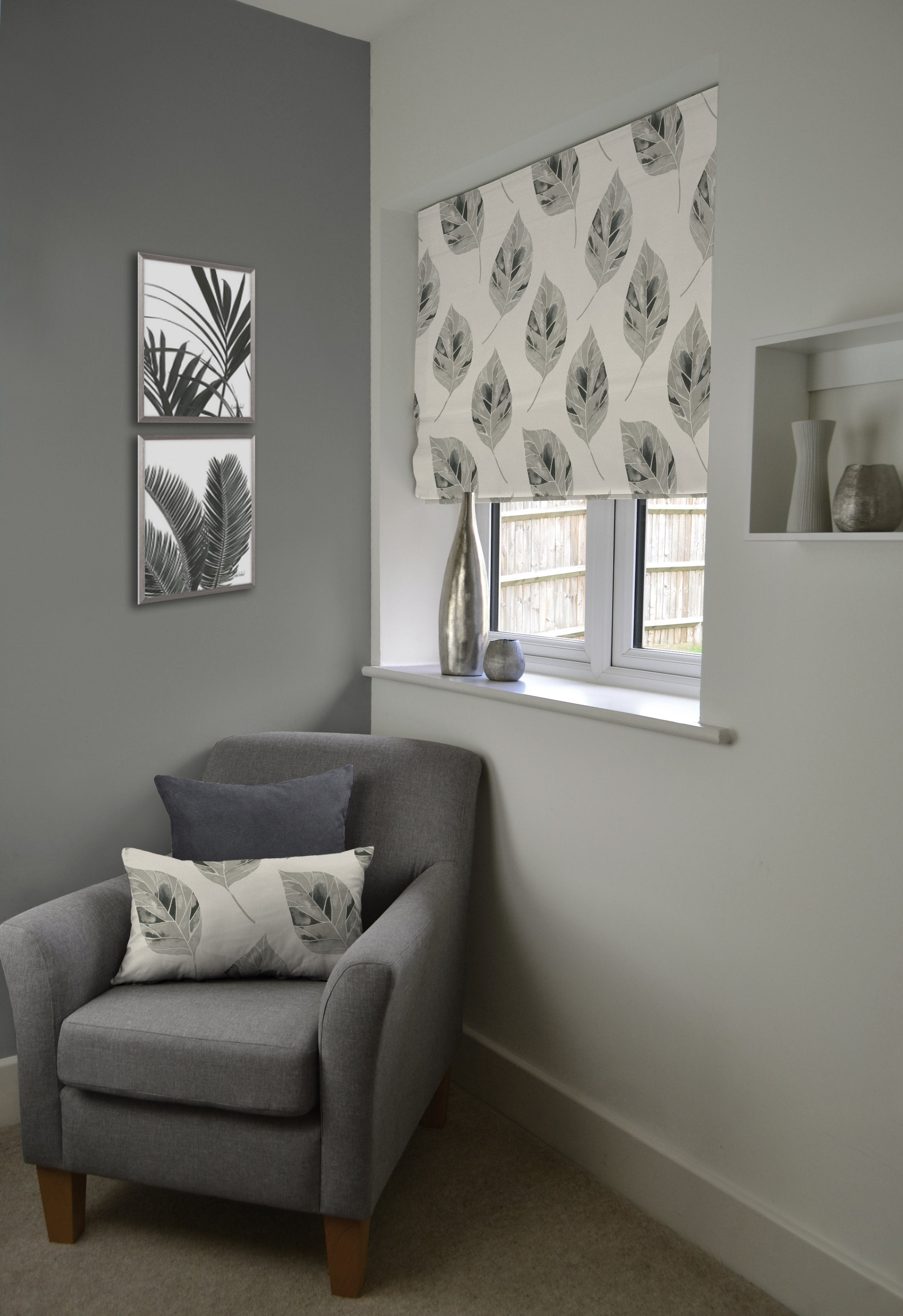 McAlister Textiles Leaf Soft Grey Cotton Print Roman Blinds Roman Blinds