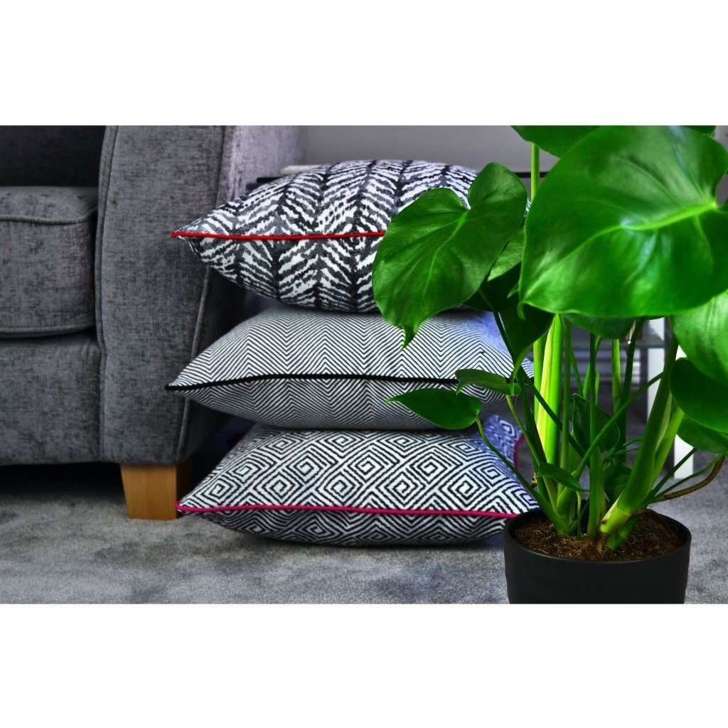 McAlister Textiles Baja Black + White Abstract Cushion Cushions and Covers