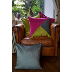 McAlister Textiles Diagonal Patchwork Fuchsia Pink, Lime Green & Grey Velvet Cushion-Cushions and Covers-