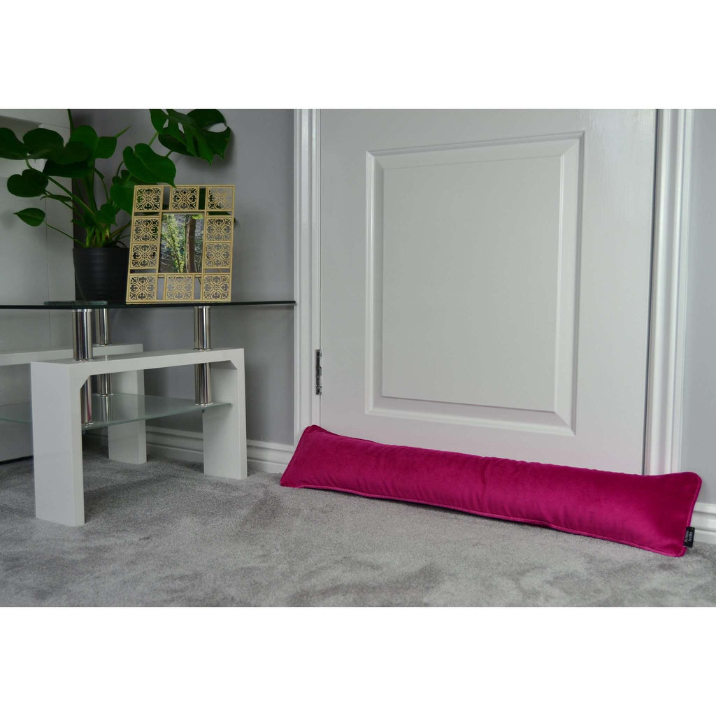 McAlister Textiles Matt Fuchsia Pink Velvet Draught Excluder Draught Excluders