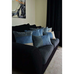 McAlister Textiles 2 Colour Patchwork Charcoal Grey and Petrol Blue Velvet Pillow-Cushions and Covers-