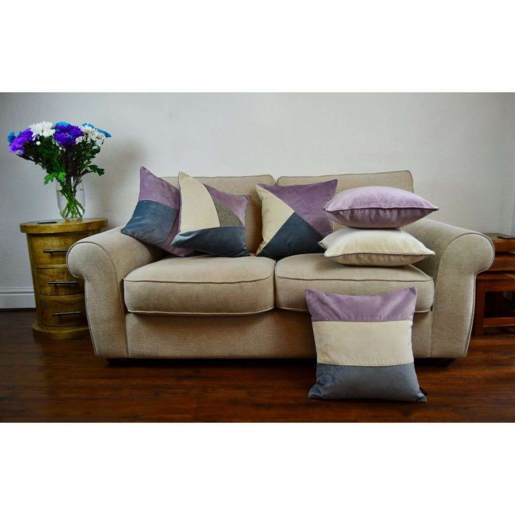 McAlister Textiles Straight Patchwork Velvet Purple, Gold + Grey Cushion Cushions and Covers