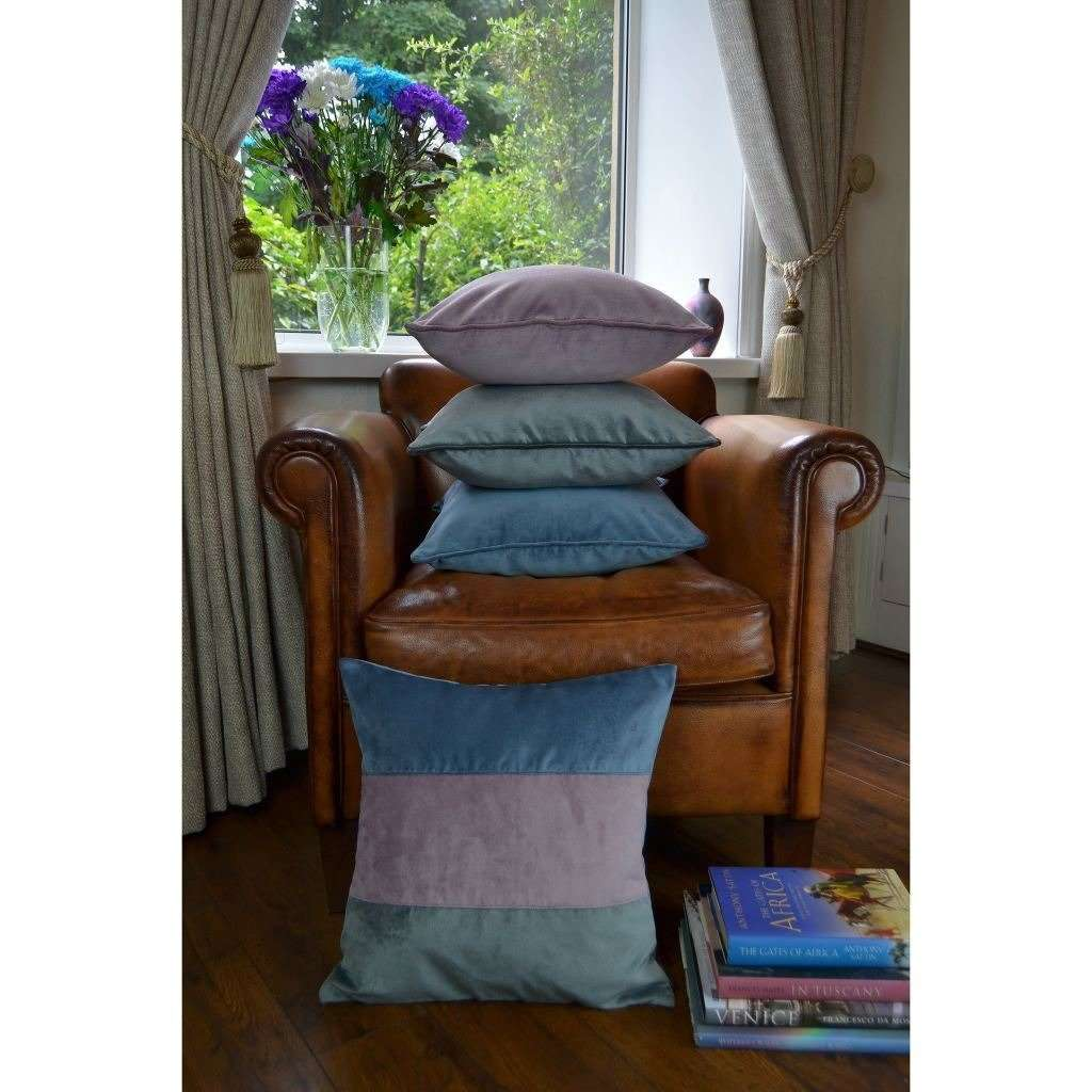 McAlister Textiles Straight Patchwork Velvet Blue, Purple + Grey Cushion Cushions and Covers