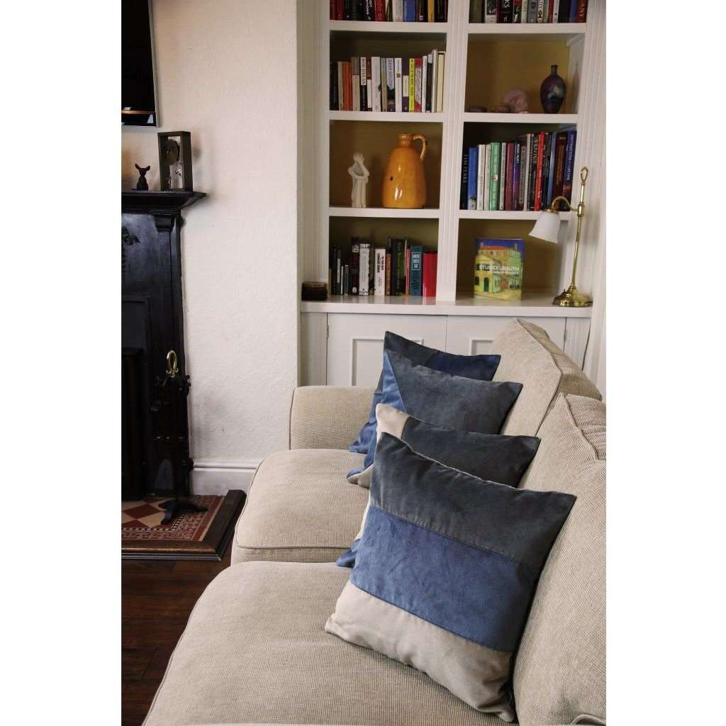 McAlister Textiles Straight Patchwork Velvet Blue, Gold + Grey Cushion Cushions and Covers