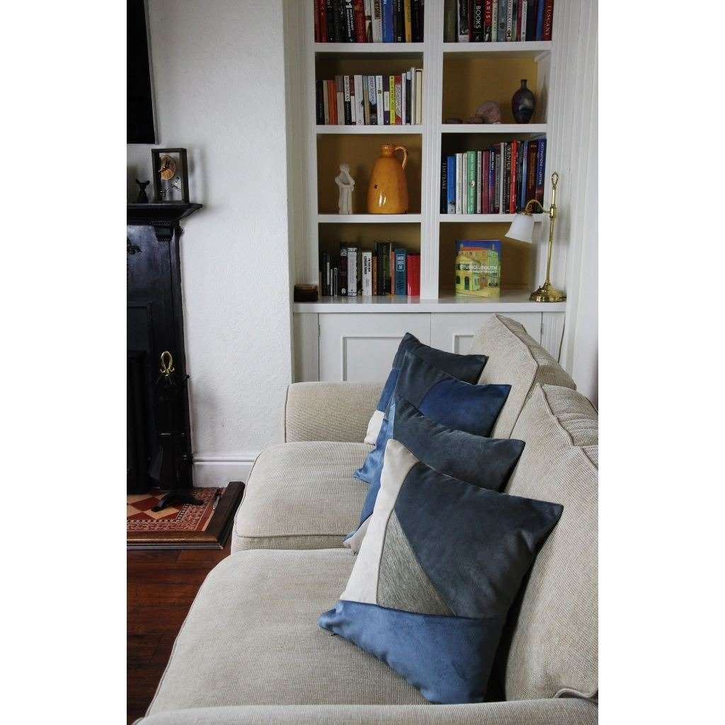 McAlister Textiles Triangle Patchwork Velvet Blue, Gold + Grey Cushion Cushions and Covers