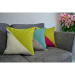 Load image into Gallery viewer, McAlister Textiles Panama Patchwork Lime Green + Cream Cushion Cushions and Covers