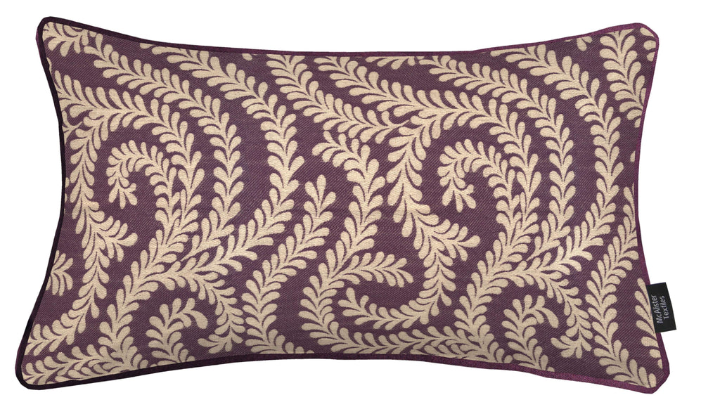 McAlister Textiles Little Leaf Aubergine Purple Cushion Cushions and Covers Cover Only 50cm x 30cm