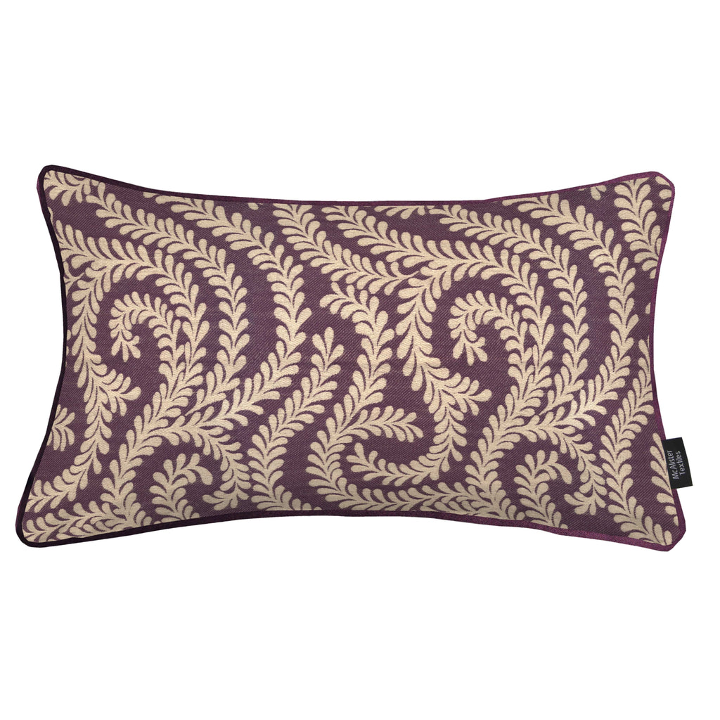 McAlister Textiles Little Leaf Aubergine Purple Pillow Pillow Cover Only 50cm x 30cm
