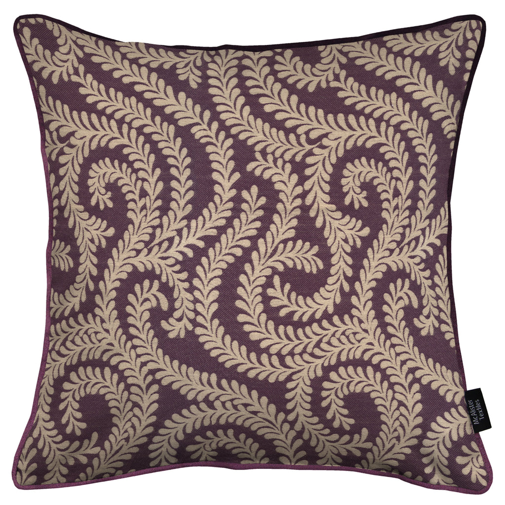 McAlister Textiles Little Leaf Aubergine Purple Cushion Cushions and Covers Cover Only 43cm x 43cm