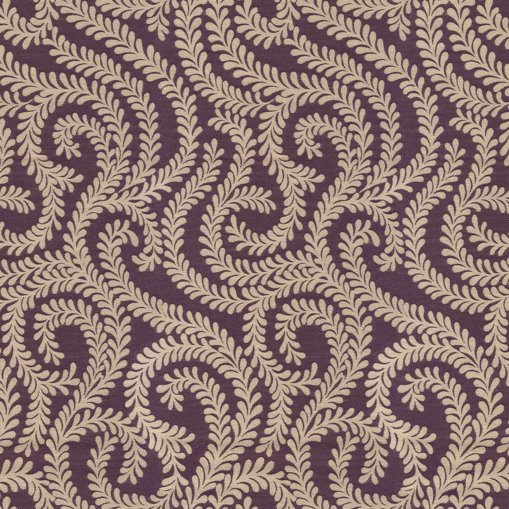McAlister Textiles Little Leaf Aubergine Purple Fabric Fabrics 1 Metre