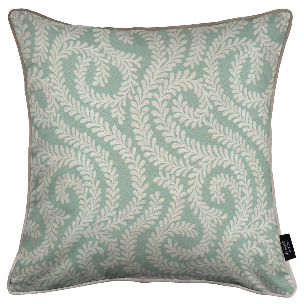 McAlister Textiles Little Leaf Duck Egg Blue Cushion Cushions and Covers Cover Only 43cm x 43cm