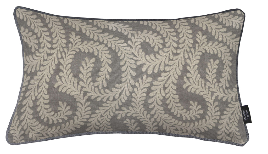 McAlister Textiles Little Leaf Charcoal Grey Cushion Cushions and Covers Cover Only 50cm x 30cm