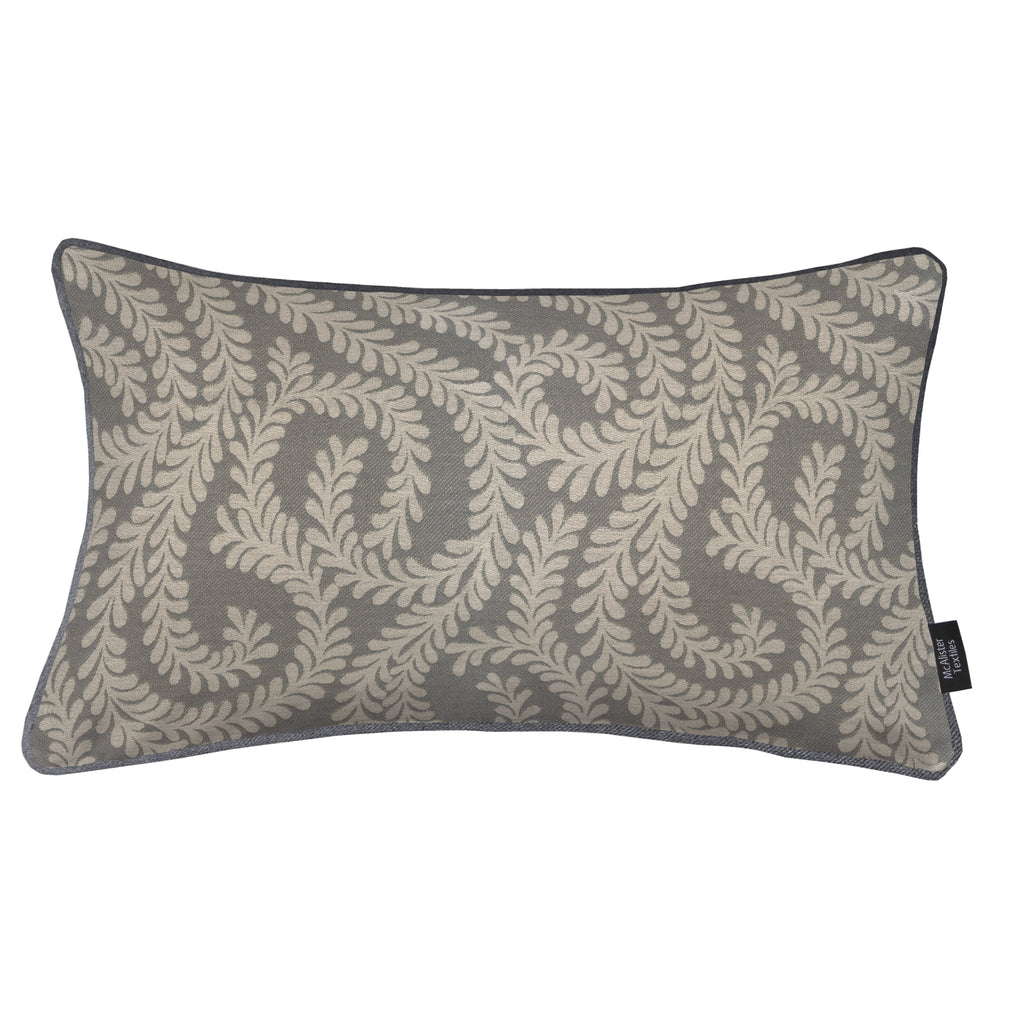 McAlister Textiles Little Leaf Charcoal Grey Pillow Pillow Cover Only 50cm x 30cm