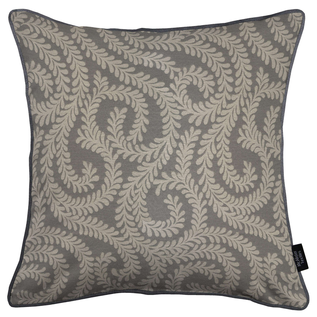 McAlister Textiles Little Leaf Charcoal Grey Cushion Cushions and Covers Cover Only 43cm x 43cm