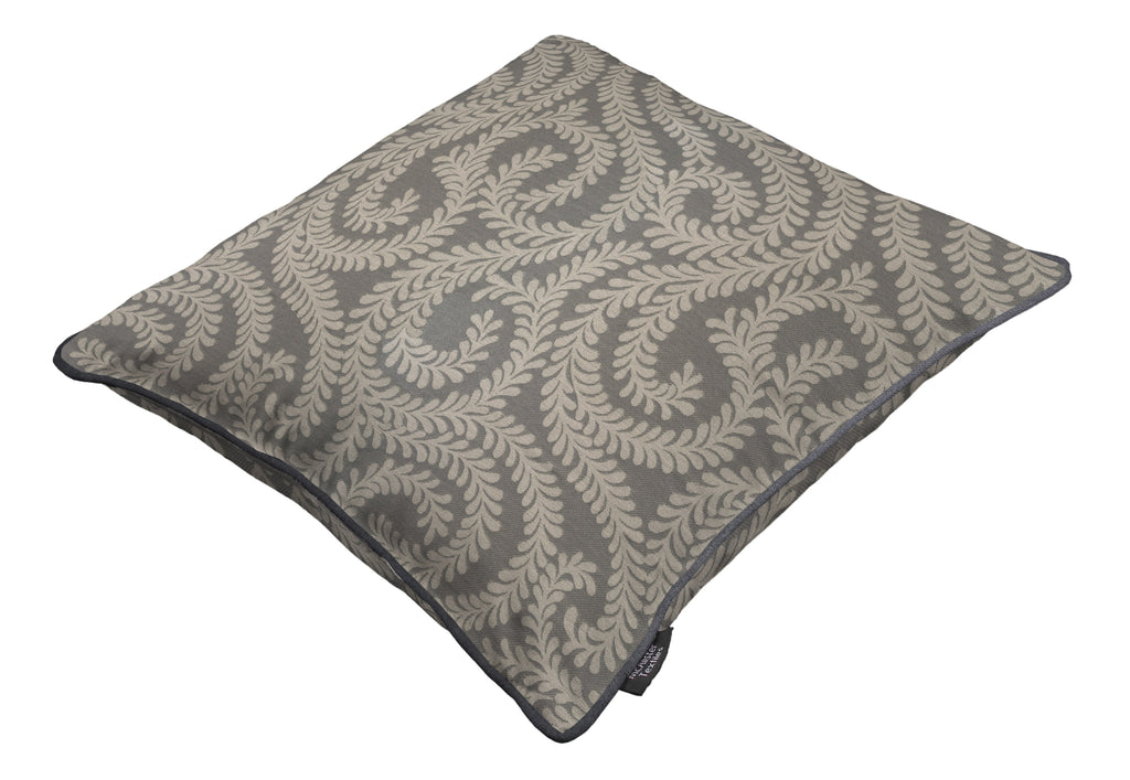 McAlister Textiles Little Leaf Charcoal Grey Cushion Cushions and Covers