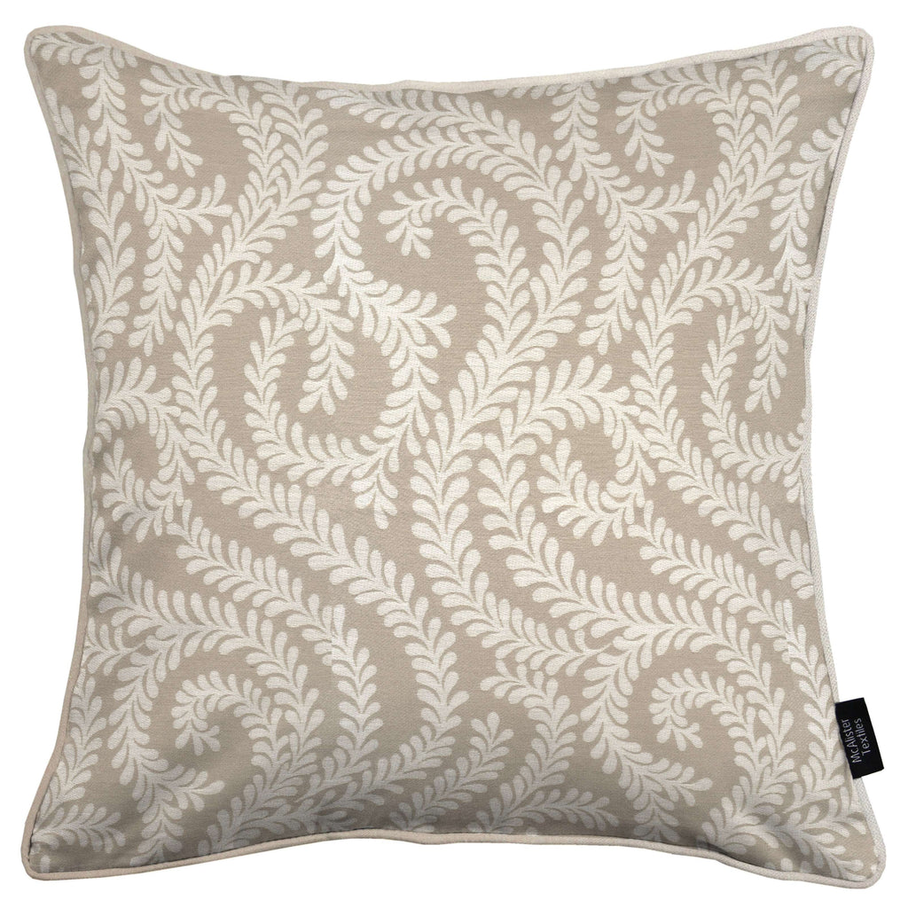 McAlister Textiles Little Leaf Pale Beige Cushion Cushions and Covers Cover Only 43cm x 43cm