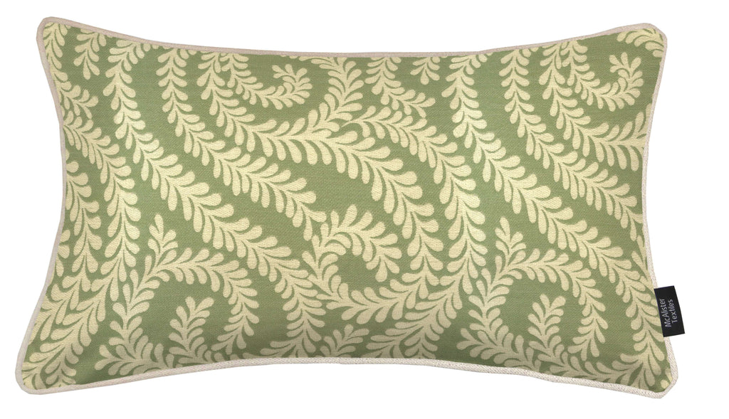 McAlister Textiles Little Leaf Sage Green Cushion Cushions and Covers Cover Only 50cm x 30cm