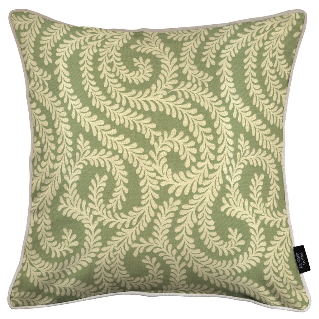 McAlister Textiles Little Leaf Sage Green Cushion Cushions and Covers Cover Only 43cm x 43cm