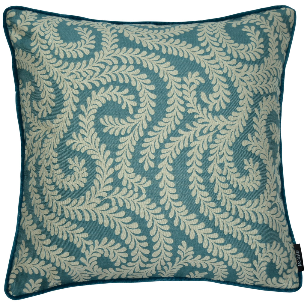 McAlister Textiles Little Leaf Teal Cushion Cushions and Covers Cover Only 43cm x 43cm