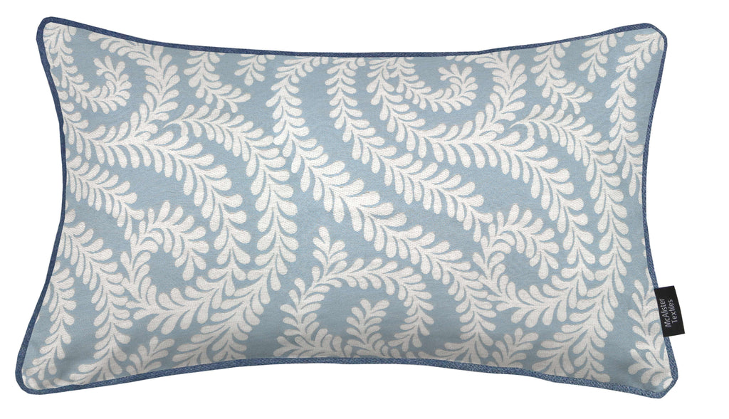 McAlister Textiles Little Leaf Wedgewood Blue Cushion Cushions and Covers Cover Only 50cm x 30cm