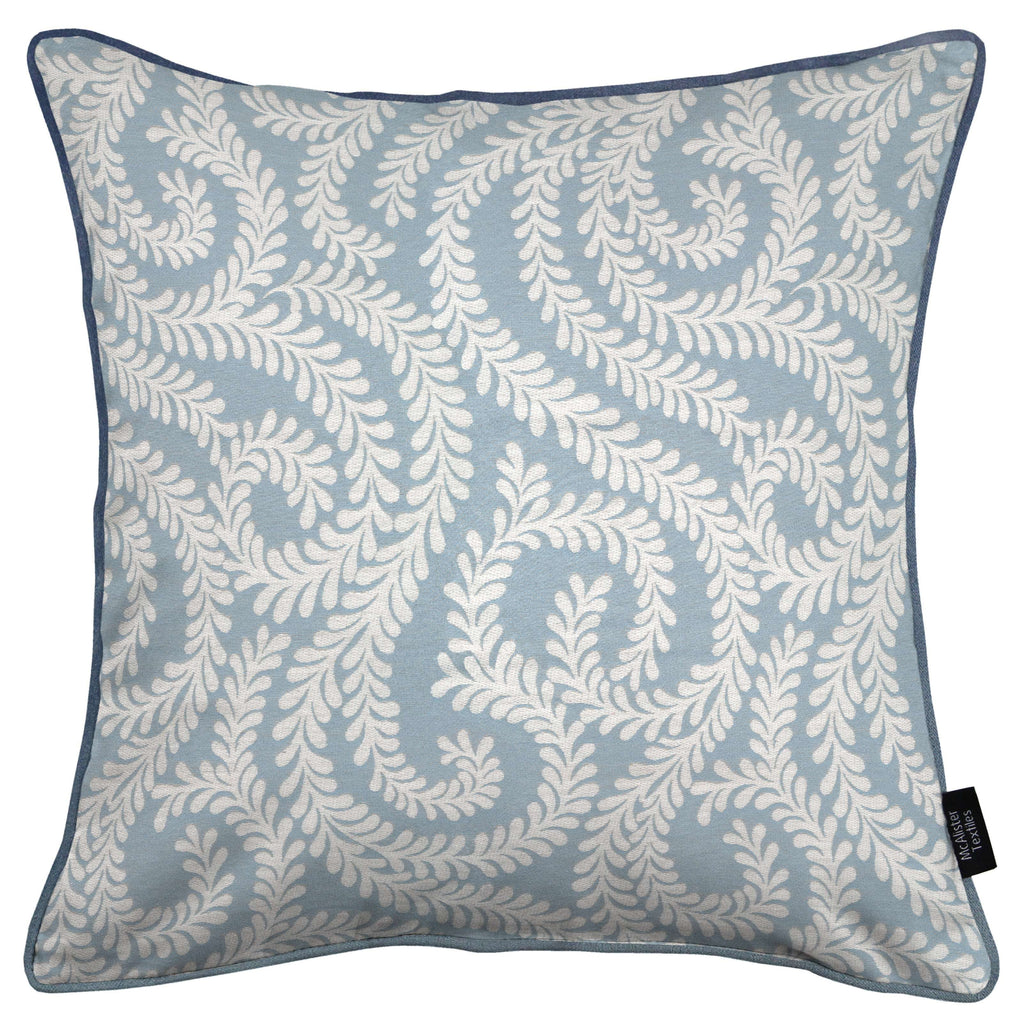 McAlister Textiles Little Leaf Wedgewood Blue Cushion Cushions and Covers Cover Only 43cm x 43cm